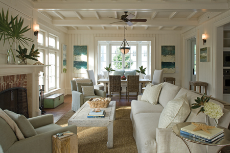 panel walls for living room. Isn t this family room inviting sisal or some natural fiber rug  overstuffed sofa and 2 great club chairs The paneling just adds to the warmth for me Home Paneled walls Garden Party