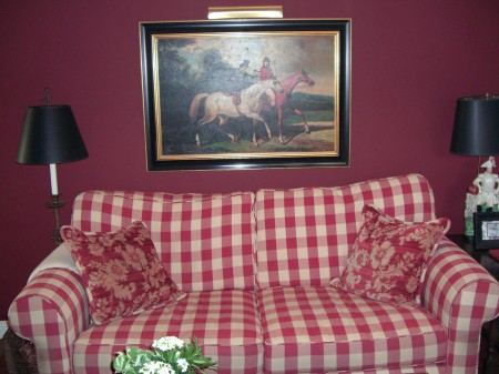 Karen B. red check sofa