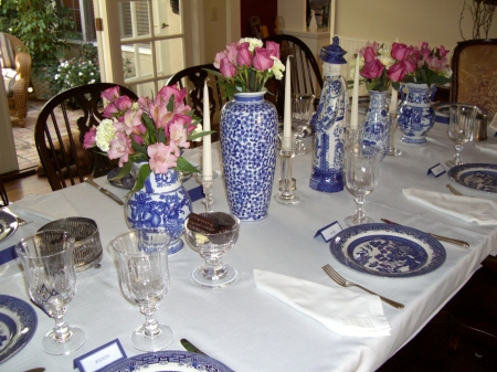 blue and white table setting