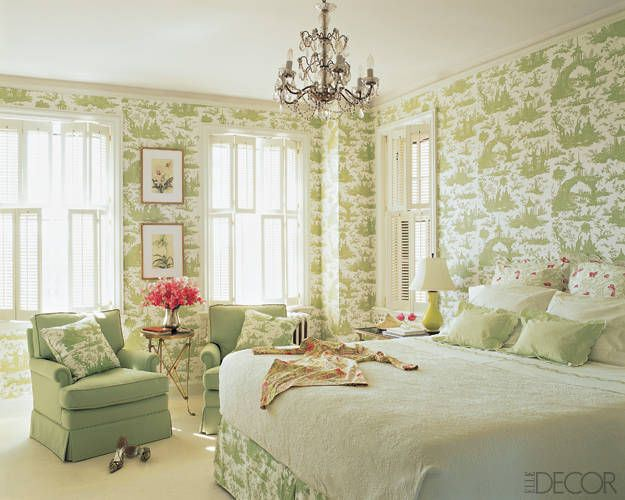 Bedroom Decorating Ideas Totally Toile: Green-and-white-toile-bedroom-via-Elle-Decor